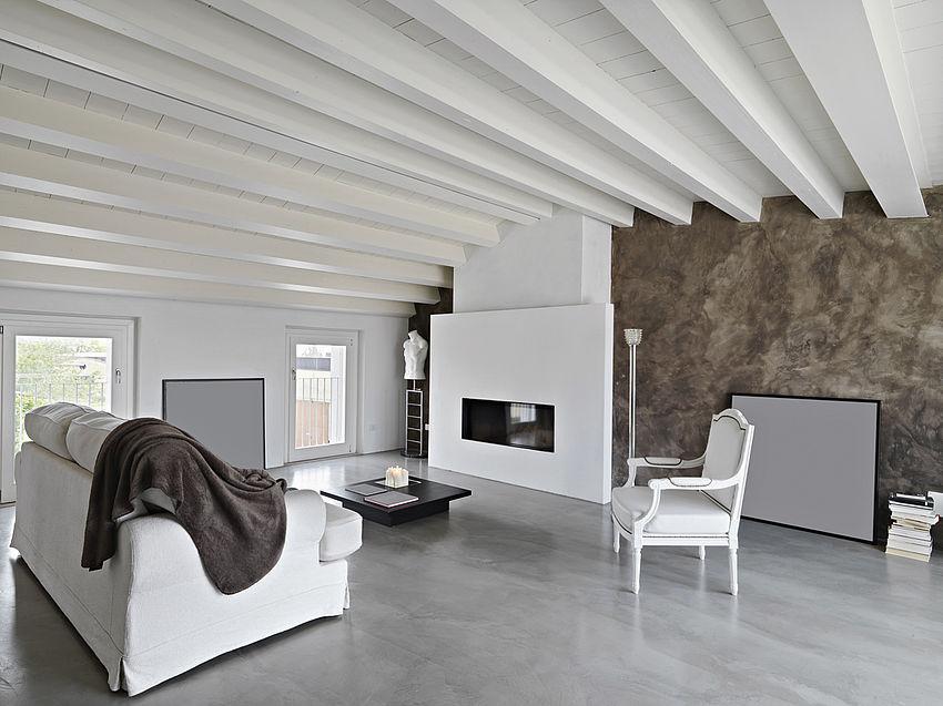 soggiorno con legno a vista costruirebio
